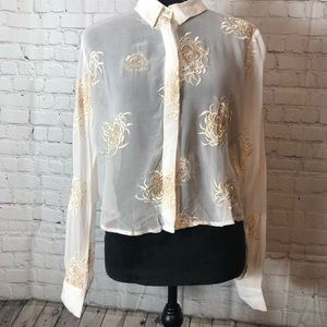 Zara shear white gold floral embroidered top